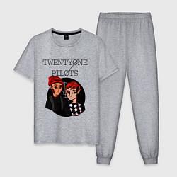 Пижама хлопковая мужская TOP Boys цвета меланж — фото 1