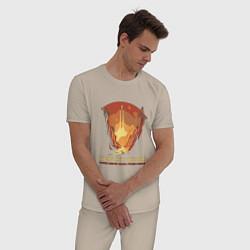 Пижама хлопковая мужская Ваш дом вдали от дома цвета миндальный — фото 2