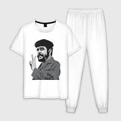 Пижама хлопковая мужская Che Guevara: Peace цвета белый — фото 1