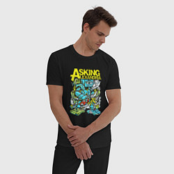 Пижама хлопковая мужская Asking Alexandria: Street style цвета черный — фото 2