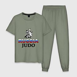 Пижама хлопковая мужская Russia judo цвета авокадо — фото 1