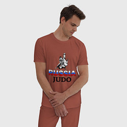 Пижама хлопковая мужская Russia judo цвета кирпичный — фото 2