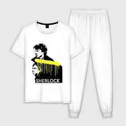 Пижама хлопковая мужская Sherlock: Yellow line цвета белый — фото 1