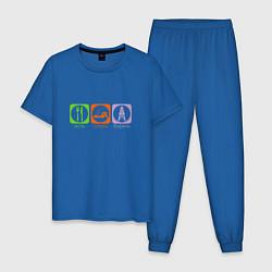 Пижама хлопковая мужская Есть, спать, бурить цвета синий — фото 1