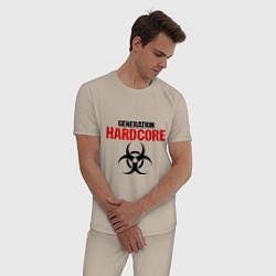 Пижама хлопковая мужская Generation Hardcore цвета миндальный — фото 2