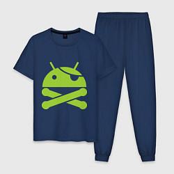 Пижама хлопковая мужская Android super user цвета тёмно-синий — фото 1