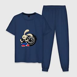 Пижама хлопковая мужская Blink-182: Street rabbit цвета тёмно-синий — фото 1