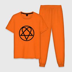 Пижама хлопковая мужская HIM Symbol цвета оранжевый — фото 1
