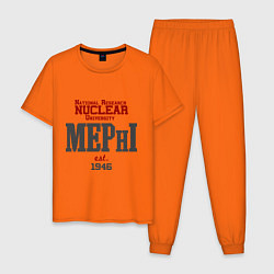 Пижама хлопковая мужская MEPHI цвета оранжевый — фото 1