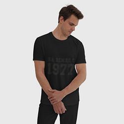 Пижама хлопковая мужская На Земле с 1977 цвета черный — фото 2