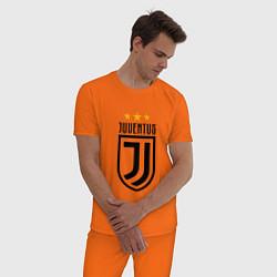 Пижама хлопковая мужская Juventus FC: 3 stars цвета оранжевый — фото 2