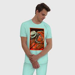 Пижама хлопковая мужская Гагарин в иллюминаторе цвета мятный — фото 2