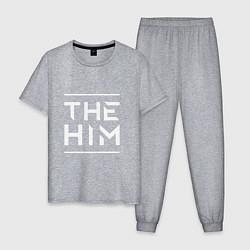 Пижама хлопковая мужская The HIM цвета меланж — фото 1