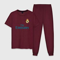 Пижама хлопковая мужская Real Madrid: Ronaldo 07 цвета меланж-бордовый — фото 1