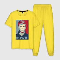 Пижама хлопковая мужская Bowie Poster цвета желтый — фото 1