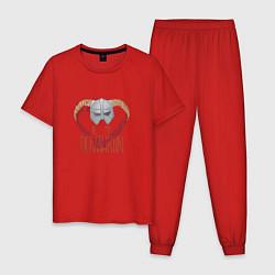 Пижама хлопковая мужская Dovahkiin цвета красный — фото 1