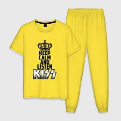 Пижама хлопковая мужская Keep Calm & Listen Kiss цвета желтый — фото 1