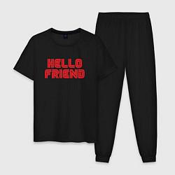 Пижама хлопковая мужская Hello Friend цвета черный — фото 1