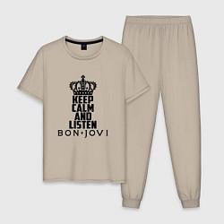 Пижама хлопковая мужская Keep Calm & Bon Jovi цвета миндальный — фото 1
