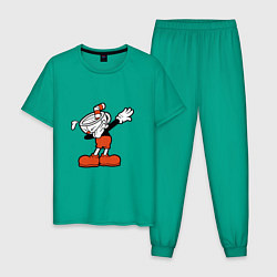 Пижама хлопковая мужская Cuphead Dab цвета зеленый — фото 1