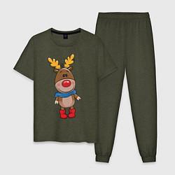 Пижама хлопковая мужская Олень в шарфике цвета меланж-хаки — фото 1