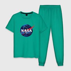 Пижама хлопковая мужская NASA: Cosmic Logo цвета зеленый — фото 1