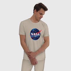 Пижама хлопковая мужская NASA: Cosmic Logo цвета миндальный — фото 2