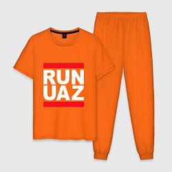 Пижама хлопковая мужская Run UAZ цвета оранжевый — фото 1