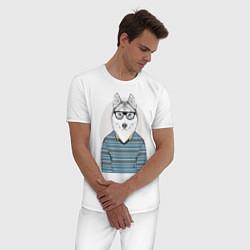 Пижама хлопковая мужская Хаски в свитере цвета белый — фото 2