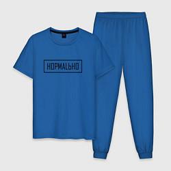 Пижама хлопковая мужская Нормально цвета синий — фото 1