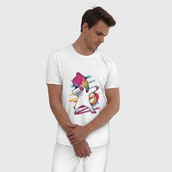 Пижама хлопковая мужская Единорог кидает даб цвета белый — фото 2