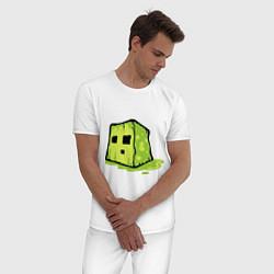 Пижама хлопковая мужская Slime цвета белый — фото 2