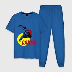 Пижама хлопковая мужская Спортивное самбо цвета синий — фото 1