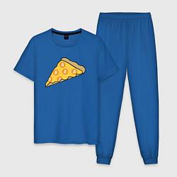 Пижама хлопковая мужская Bitcoin Pizza цвета синий — фото 1