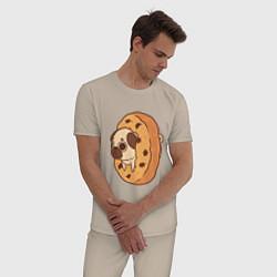 Пижама хлопковая мужская Мопс-печенька цвета миндальный — фото 2