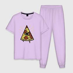 Пижама хлопковая мужская Божественная пицца цвета лаванда — фото 1