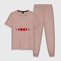 Пижама хлопковая мужская Thomas Mraz цвета пыльно-розовый — фото 1