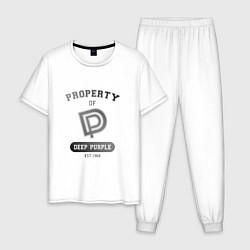 Пижама хлопковая мужская Property of Deep Purple цвета белый — фото 1