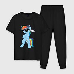 Пижама хлопковая мужская Крутая пони цвета черный — фото 1