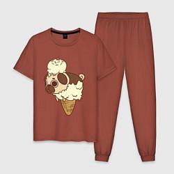 Пижама хлопковая мужская Мопс-мороженое цвета кирпичный — фото 1