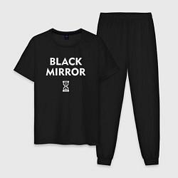 Пижама хлопковая мужская Black Mirror: Loading цвета черный — фото 1