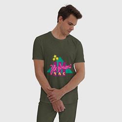 Пижама хлопковая мужская Звездный час цвета меланж-хаки — фото 2