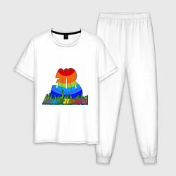 Пижама хлопковая мужская Зов джунглей цвета белый — фото 1