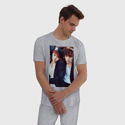 Пижама хлопковая мужская Юнги и Джин: БТС цвета меланж — фото 2