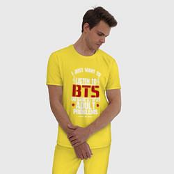 Пижама хлопковая мужская I just want to listen BTS цвета желтый — фото 2