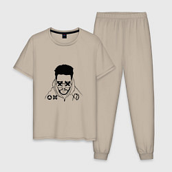 Пижама хлопковая мужская The Weeknd цвета миндальный — фото 1