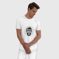 Пижама хлопковая мужская Barber Shop цвета белый — фото 2