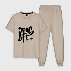 Пижама хлопковая мужская Thug Life цвета миндальный — фото 1