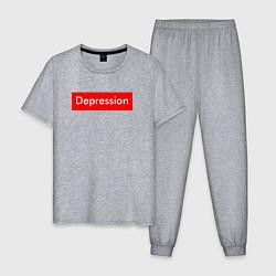 Пижама хлопковая мужская Depression Supreme цвета меланж — фото 1