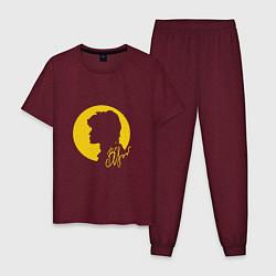 Пижама хлопковая мужская Виктор Цой цвета меланж-бордовый — фото 1